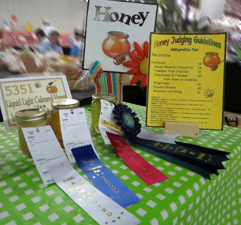 honey judge fair contest jars bottles ribbons