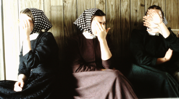 Hutterite girls three monkeys
